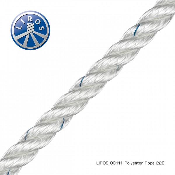 LIROS Polyester Tauwerk, 3-schäftig, 6mm, weiß