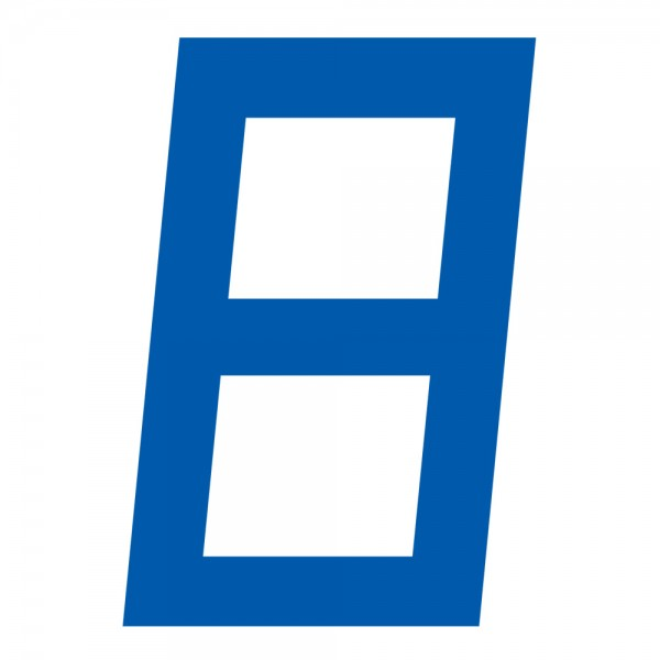 Digitale Segelnummer, 30,5cm, Blau