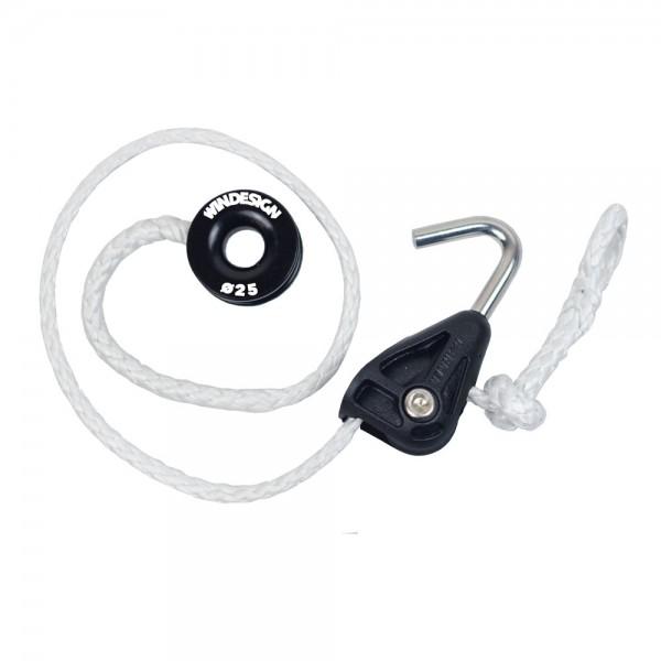 Sprietfall-System mit Harken hook-in Block, hochfestem Dyneema und Gleitring